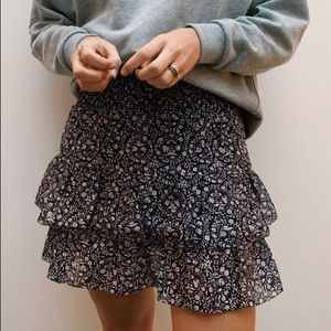 American Eagle Blue Floral Tiered Flowy Mini Skirt